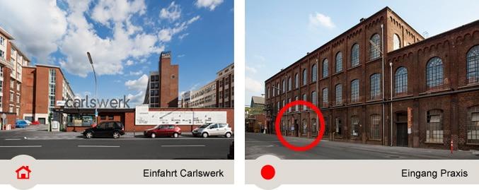 Einfahrt Carlswerk: Parkplätze direkt vor der Praxis