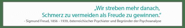 Wir streben mehr danach, Schmerz zu vermeiden als Freude zu gewinnen. - Sigmund Freud (1856 - 1939), österreichischer Psychiater und Begründer der Psychoanalyse