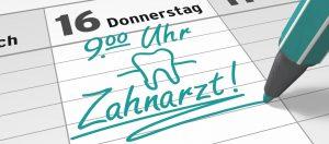 Zahnarzttermin in Kalender einschreiben
